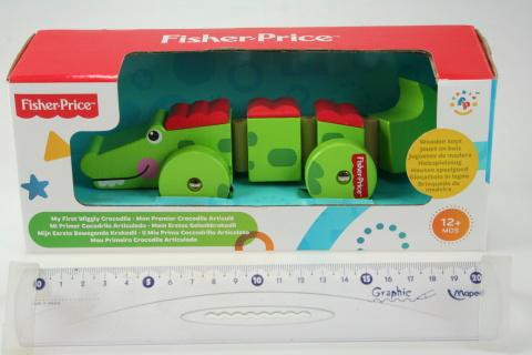 Fisher Price Krokodýl na kolečkách dřevěný