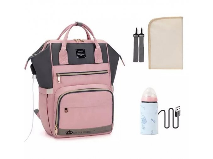 Přebalovací batoh Pink Grey Powder