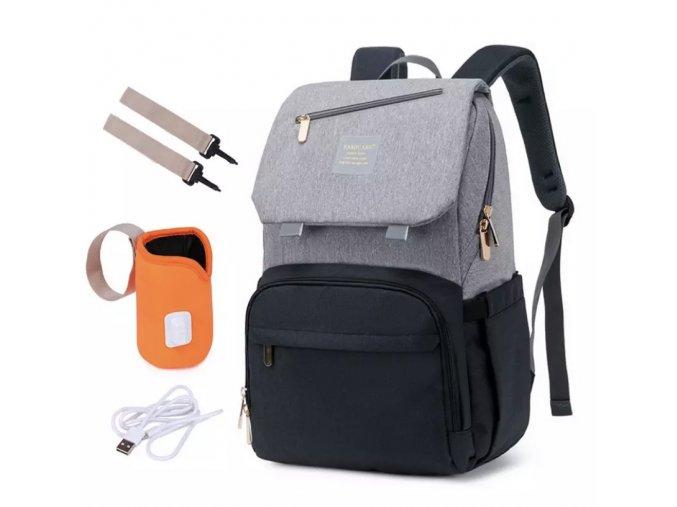 Přebalovací batoh Black Famicare s ohřívačem lahviček