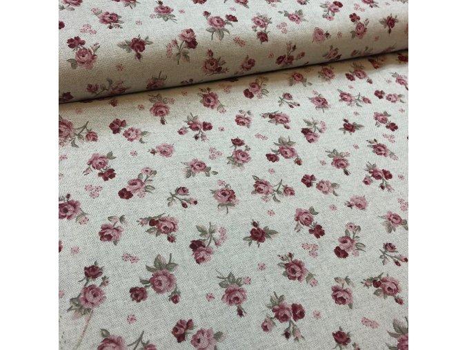 režná bavlna vzor růžicky