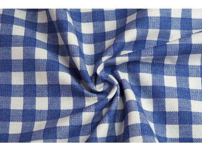 bavlnene platno kostka modra1