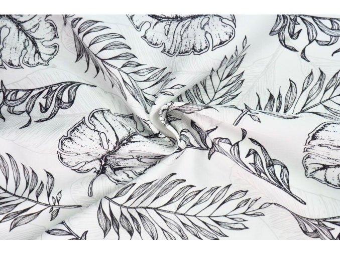 Bavlněný satén černobílé listy