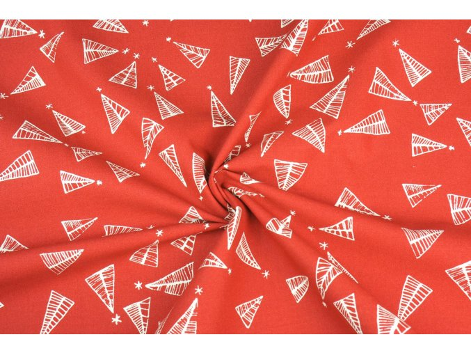 Bavlněná látka vánoční stromečky na červené