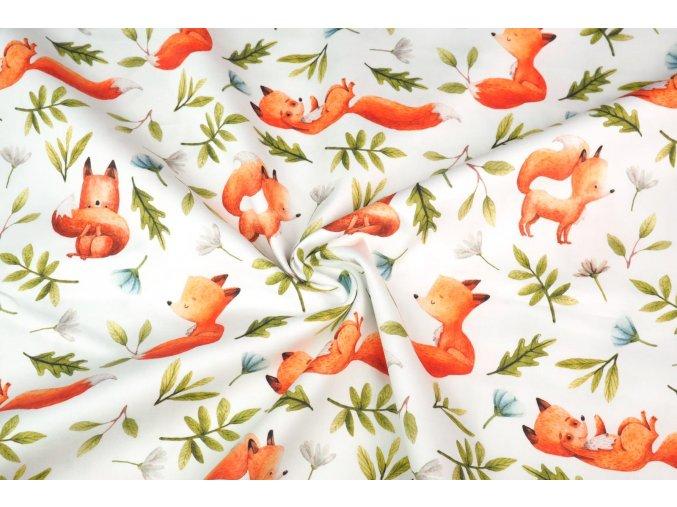 Bavlněný satén lišky v lese