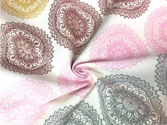 bavlna rezna hnedocervene mandaly