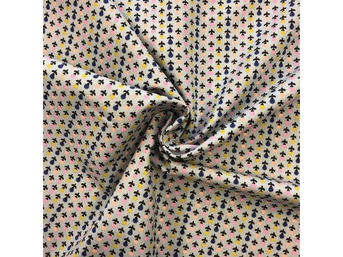 bavlnene platno barevne kyticky v radach metraz