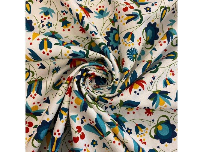 bavlnene platno malovane kvety zelenomodre uvod