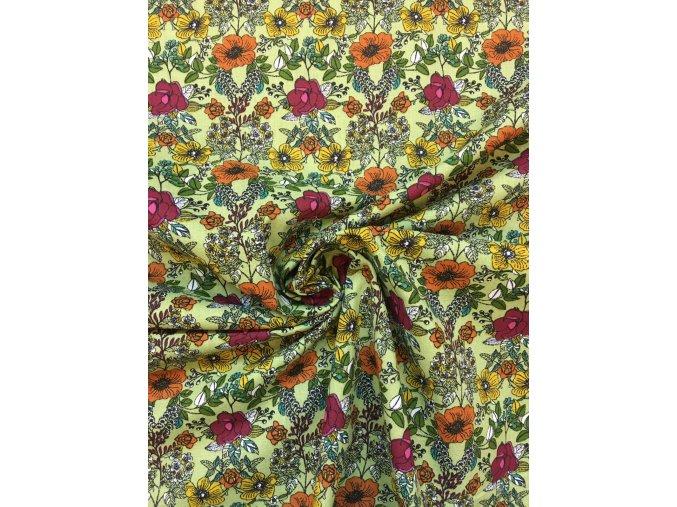 bavlnene platno barevne kvetiny na pistaciove3