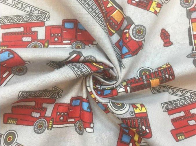 Bavlněné plátno hasičské vozy na šedé
