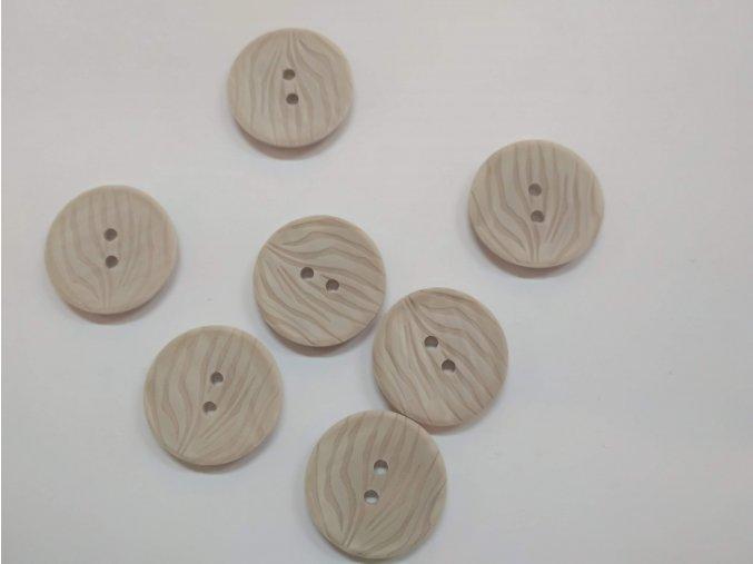 Knoflík dvoudírkový plastový 25 mm béžový reliefní