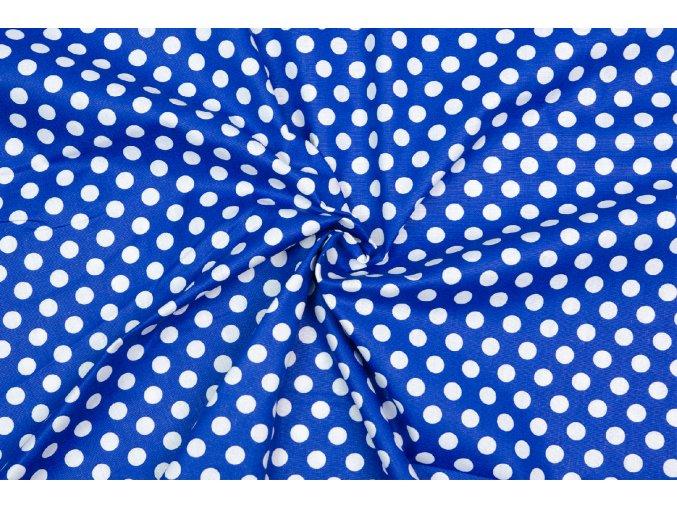 bavlnene platno puntiky bile na modre 1 cm