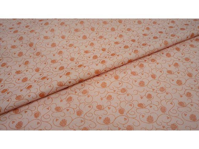 Bavlněné plátno větvičky se šiškami na pastelově růžové