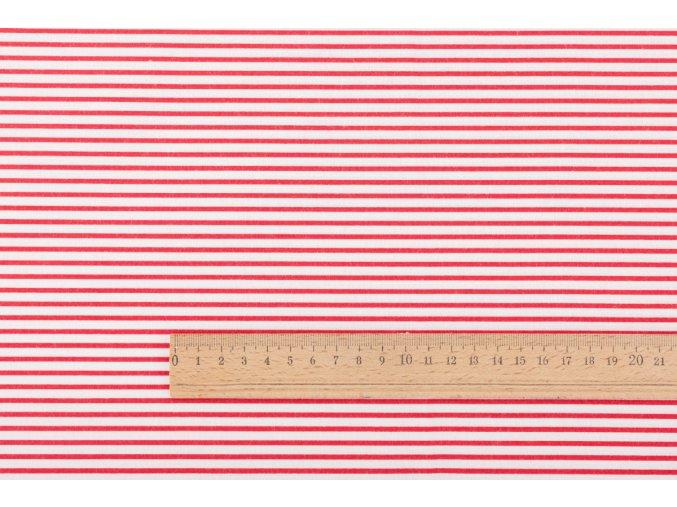 20345 bavlnene platno cervene prouzky 2 mm na bile