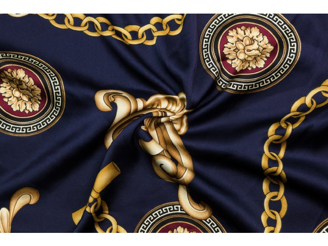 umele hedvabi silky armani ornamenty a retezy na tmave modre