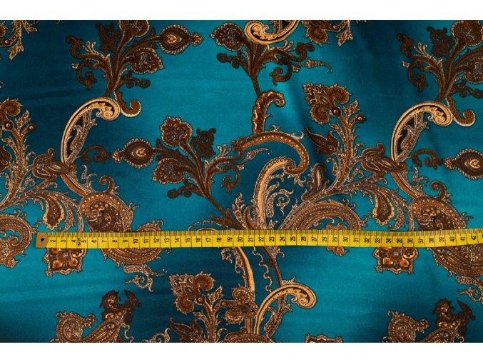 umele hedvabi silky armani petrolejova melaz se zlatymi kasmirovymi ornamenty