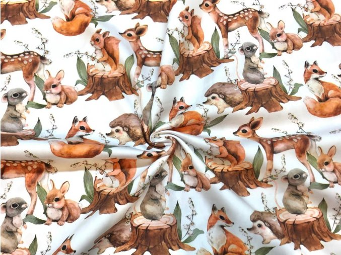 Bavlněný satén malovaná lesní zvířátka digi tisk1