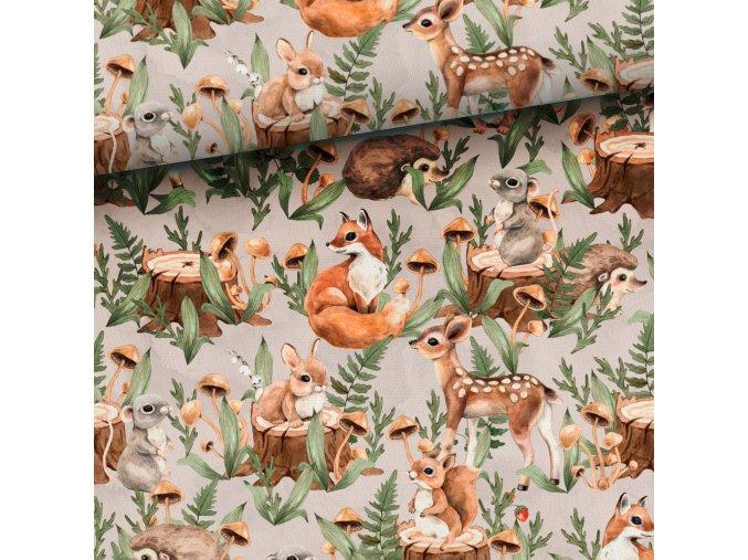 Teplákovina lesní mláďátka na šedobéžové