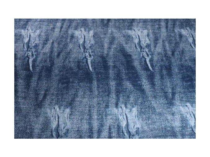Teplákovina jeans trhaná modrá