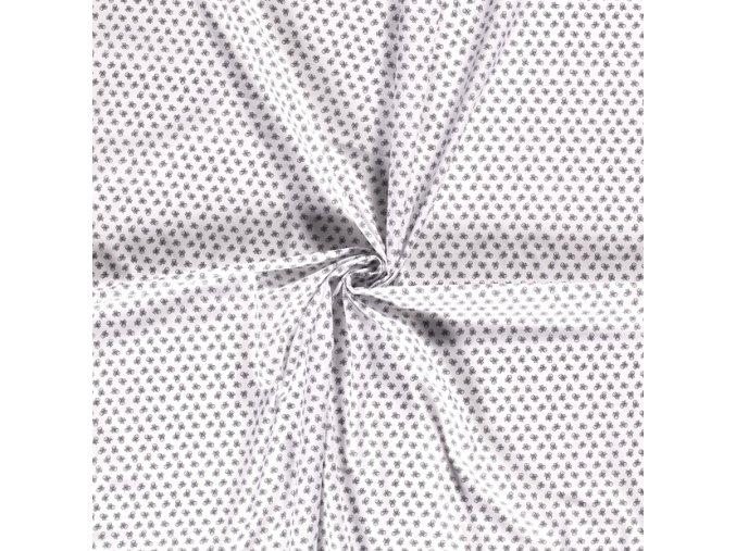 bavlnene platno cerne lebky na bile drobny vzor 1