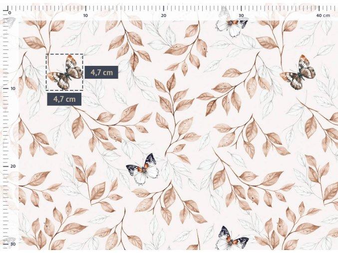 bavlneny saten motyli a vetvicky s listky m