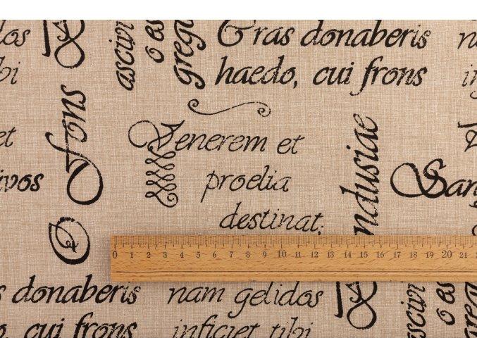 bavlněné plátno písmo na béžové