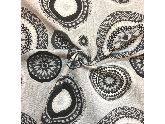 Bavlna režná šedé mandaly 1