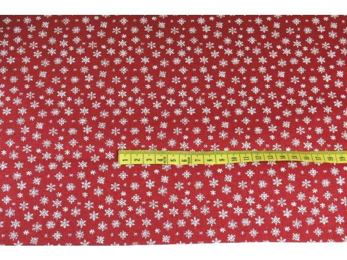 bavlna bílé mini vločky na červené 1