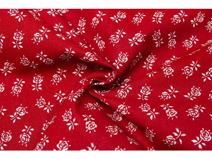 bavlna kvety ruzi na cervene