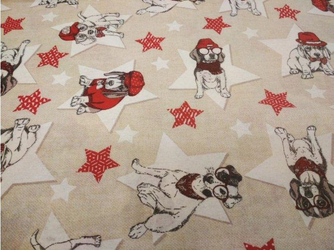 bavlna režná Star Dogs