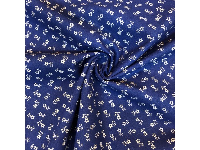 bavlna drobne bile kyticky na modre 1