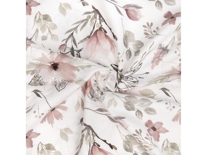 Bavlněný satén květy na smetanové digi tisk 1
