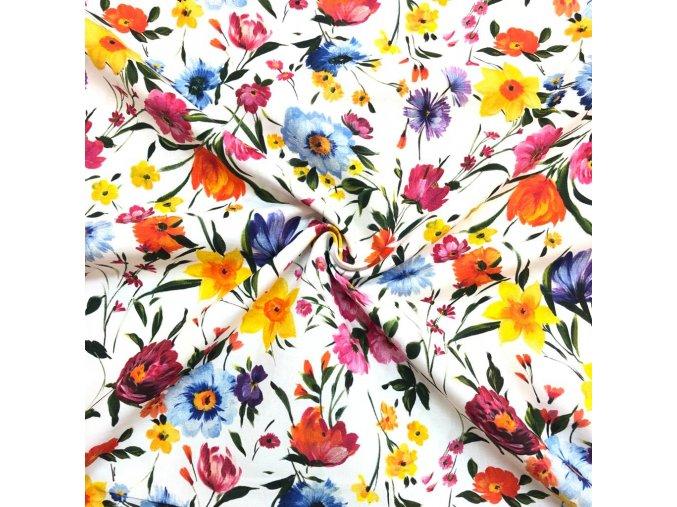 bavlna barevne kytky 1