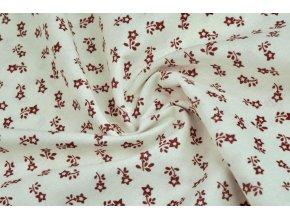 bavlnene platno drobne cervene kyticky na bile 1