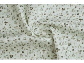 bavlnene platno bezove kyticky na bile1
