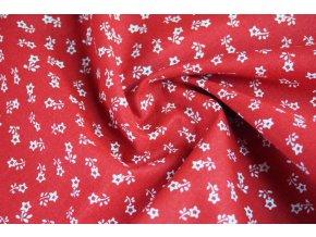 bavlnene platno drobne bile kyticky na cervene1