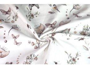 bavlneny saten maky a motyli