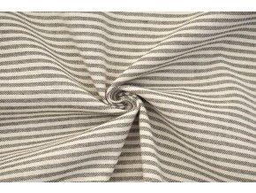 bavlna rezna prouzek cerno smetanovy