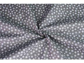 Bavlněné plátno mini vločky na šedé tmavé 4