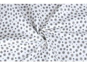 Bavlněné plátno šedé mini vločky na bílé3