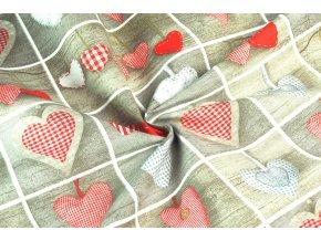 Bavlněná tkanina patchwork srdce zavěšená1