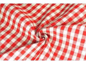 bavlna režná kanafasová kostka červená