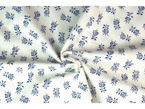 Bavlněné plátno květy růží na bílé3