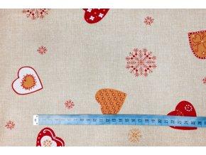Bavlněné plátno vánoční srdce na pískovém melíru1
