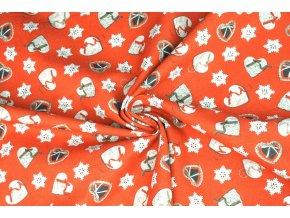 Bavlněné plátno vánoční šitá srdíčka1