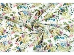 Bavlněné plátno motýli na květu1