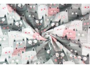 Bavlněné plátno kočičky šedé a růžové digi tisk