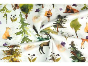 Bavlněný satén setkání zvířat v lese digi tisk