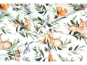 Bavlněný satén zajíci, veverky a srnci v lese
