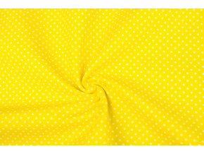 Bavlněné plátno bílé puntíky na jasně žluté1