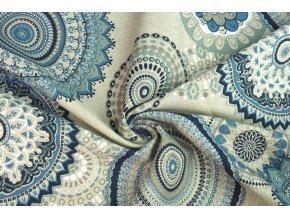 Bavlna režná modré mandaly